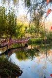 红色桥梁和眺望台由池塘 库存照片