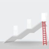 红色梯子和台阶由门开放成功企业concep决定 免版税库存图片
