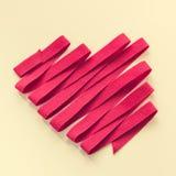 从红色棉花丝带的心脏 库存图片