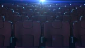 红色椅子行在有闪动的放映机光的戏院大厅里在背景 3d红色位子的动画 股票视频