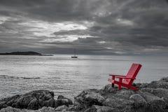红色椅子黑白自然背景