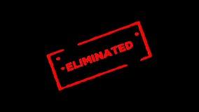 红色橡胶墨水邮票签字的Eliminated放大并且迅速移动有阿尔法通道透明度背景 皇族释放例证