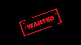 红色橡胶墨水邮票签字的Wanted放大并且迅速移动有阿尔法通道透明度背景 股票视频