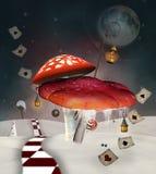 红色毒蘑菇ina冬天风景 向量例证