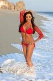 红色比基尼泳装的妇女在海滩 库存照片