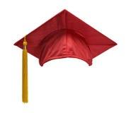 红色毕业帽子前面 免版税图库摄影