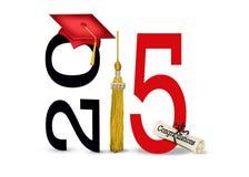 红色毕业盖帽在2015年 免版税库存照片