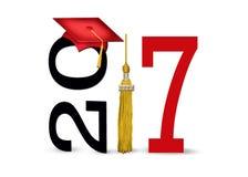 红色毕业盖帽在2017年 库存照片