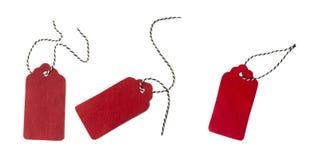 从红色毛毡的标签 套颜色在白色背景隔绝的礼物标记 免版税图库摄影