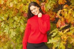 红色毛线衣的美丽的妇女在公园 库存图片