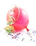 红色气球和飘带 免版税库存图片
