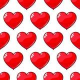 红色气球的无缝的样式以心脏的形式 爱的,天3月8日,华伦泰` s背景 库存照片