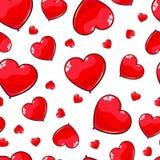 红色气球的无缝的样式以心脏的形式 爱的,天3月8日,华伦泰` s背景 库存图片