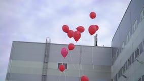 红色气球飞行 影视素材