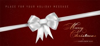 红色水平的圣诞快乐和新年快乐横幅 库存图片