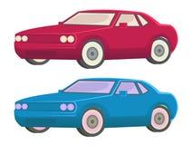 红色汽车和蓝色汽车例证 免版税库存照片