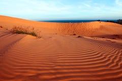红色沙丘、海运和天空。 横向 免版税库存图片