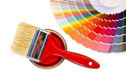 红色油漆和样片。 免版税库存图片
