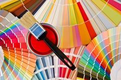红色油漆样品。 免版税库存照片