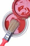 红色油漆顶视图能与刷子 库存照片