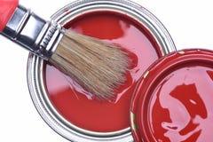 红色油漆顶视图能与刷子 库存图片