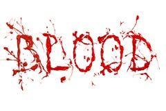 红色油漆飞溅被绘的词血液 免版税图库摄影
