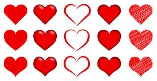 红色浪漫心脏-传染媒介艺术品收藏 皇族释放例证
