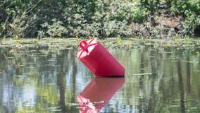 红色浮体在一个大池塘 图库摄影
