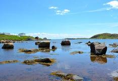 红色海湾岩石  库存图片