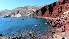 红色海滩在圣托里尼,希腊 库存图片