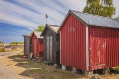 红色海滩小屋 库存照片