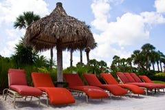 红色海滩睡椅 库存照片