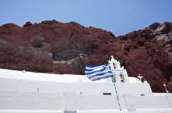 红色海滩- Santorini海岛-希腊 库存照片