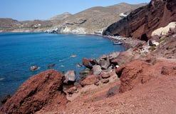 红色海滩- Santorini海岛-希腊 库存图片