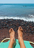 红色海滩- Santorini海岛-希腊 免版税图库摄影