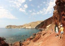 红色海滩圣托里尼 免版税库存照片