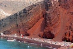 红色海滩圣托里尼 免版税库存图片