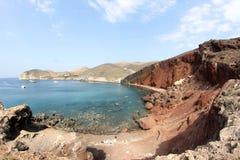 红色海滩圣托里尼 库存图片