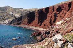 红色海滩在圣托里尼海岛,希腊 免版税图库摄影