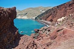 红色海滩在圣托里尼,希腊 库存照片