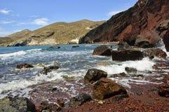 红色海滩, Santorini 免版税库存照片