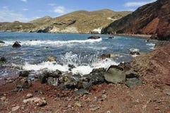 红色海滩, Santorini 免版税图库摄影
