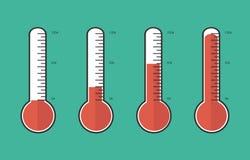 红色温度计的例证用不同的水平的,平的猪圈 库存图片