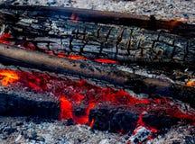 红色温暖的黑煤炭背景纹理 免版税库存图片