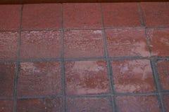 红色湿在边路的砖铺路石 抽象背景计算机生成的图象纹理 免版税图库摄影