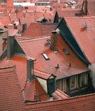 红色湿瓦屋顶 免版税库存照片