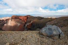 红色火山口在东格里罗国家公园在新西兰 免版税库存图片