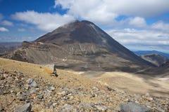 从红色火山口看见的瑙鲁霍伊火山 图库摄影