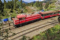 红色火车和樱桃树在全国风景是的阿里山开花 图库摄影