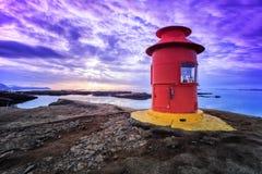 红色灯塔在Stykkisholmur,冰岛 库存照片